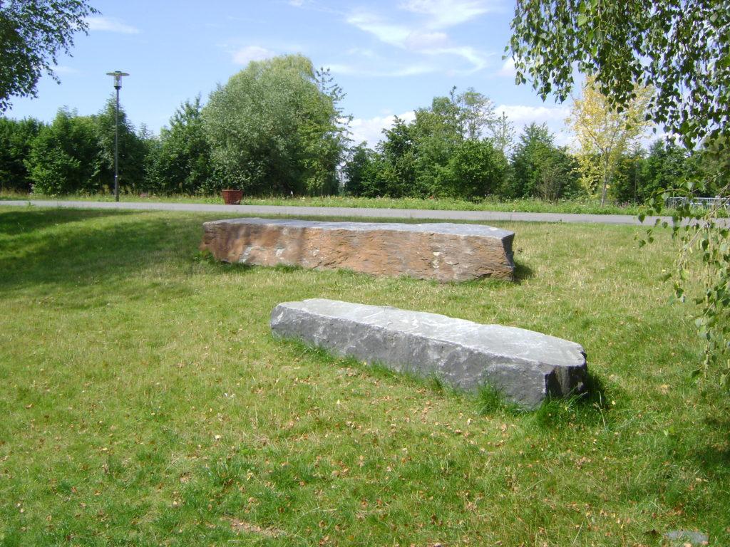 Gießen, Landesgartenschau 2014 - Stelen liegend