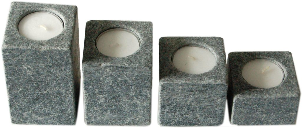 "Teelichtset ""getrommelt"" (6 cm x 6 cm), 4 cm / 6 cm / 8 cm / 10 cm hoch"