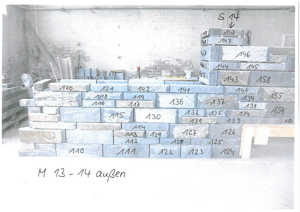 Versetzplan für Nummeriertes Mauerwerk