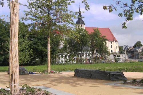 """Reichenbach, Landesgartenschau 2009 – Stelen """"Theumaer Fruchtschiefer"""""""